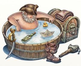 Pirate taking bath