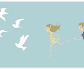 running with gulls wall art